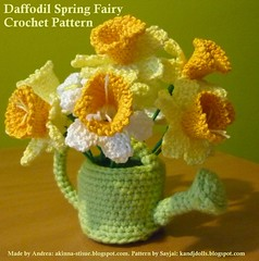 Crocheted Daffodils in Green Watering Can (Dolls based on K and J Dolls Patterns) Tags: flower pattern crochet daffodil amigurumi blume osterglocken hkeln hkelanleitung frhlingsfee