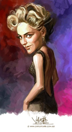 digital caricature of Sharon Stone - 2