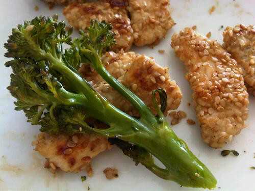 Sesame chicken and roasted broccolini