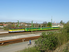 Train vs. Cross motorbike (GeryM41) Tags: train cross motorbike 323 schlieren v43 nagycenk gysev raaberbahn