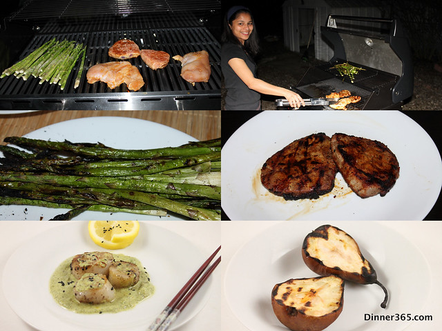 Day 100 - Grilling: Scallops, Steak, Asparagus and Pears