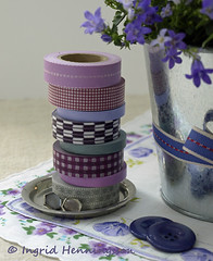 Stack of Washi Tape (Of Spring and Summer) Tags: flowers blue stilllife inspiration flower art home nature leaves vintage garden photography design leaf ribbons purple linen buttons interior creative plate retro pot tape fabric stems tray romantic plates tablecloth handkerchief cottagestyle washi tablecloths shabbychic handkerchieves washitape ofspringandsummer prettystems
