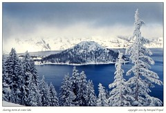 clearing storm at crater lake (Intrepid Tripod) Tags: trees snow oregon 35mm snowstorm cascades kodachrome 1977 wizardisland snowontrees craterlakenationalpark clearingstorm january4 rimeice vanagram