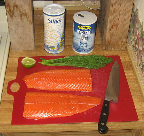 Gravlax ingredients, ready for recipe