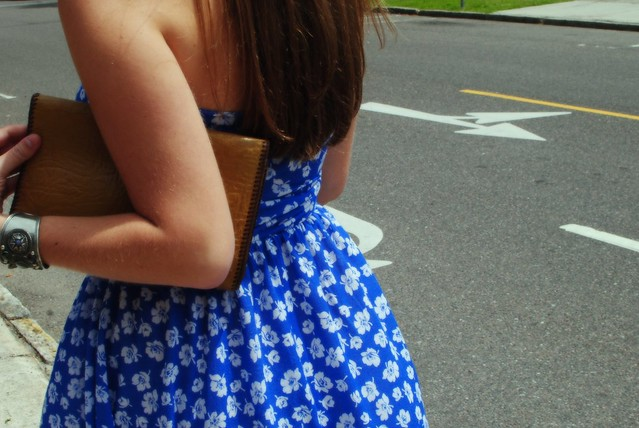 summer dress and vintage clutch