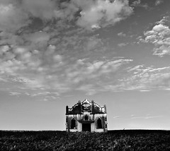 haunting (AnnuskA  - AnnA Theodora) Tags: morning brazil sky blackandwhite abandoned church field clouds landscape early scenery eerie creepy spooky archtecture fallingapart orlatenight inthemiddleofasoyfield
