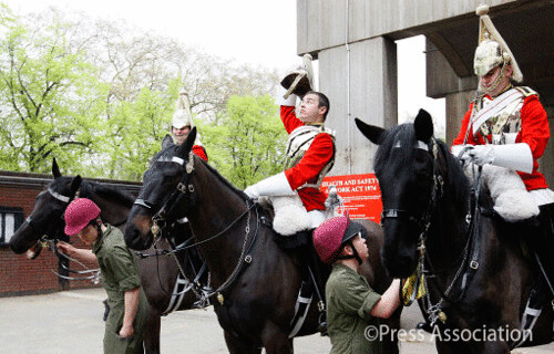 The Household Cavalry Mounted Regiment prepares for the Royal Wedding