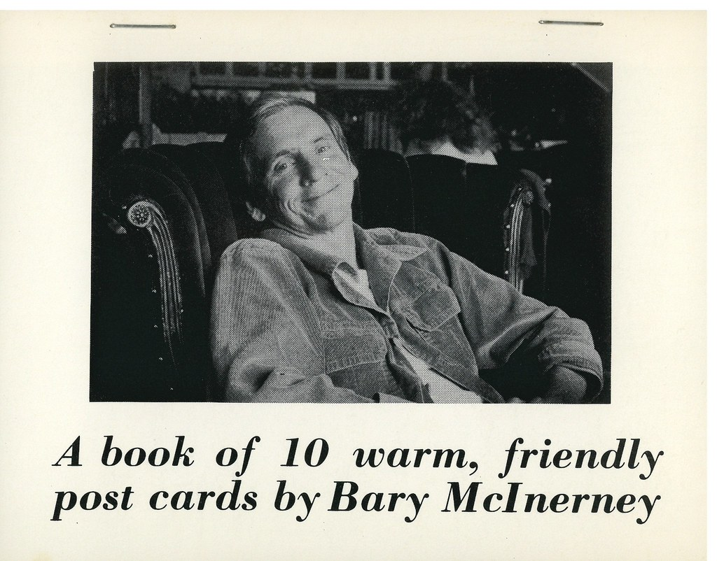 "McINERNEY, Bary.  Point Richmond, CA (Designers) 1978.  ""A Book of 10 Warm, Friendly Post Cards"": 10 postcards bound by staples."
