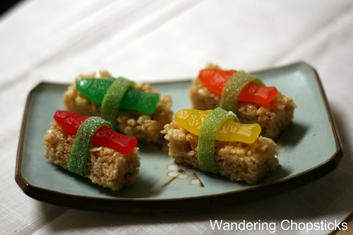 Dessert Sushi with Swedish Fish Candy and Rice Krispies Treats 7