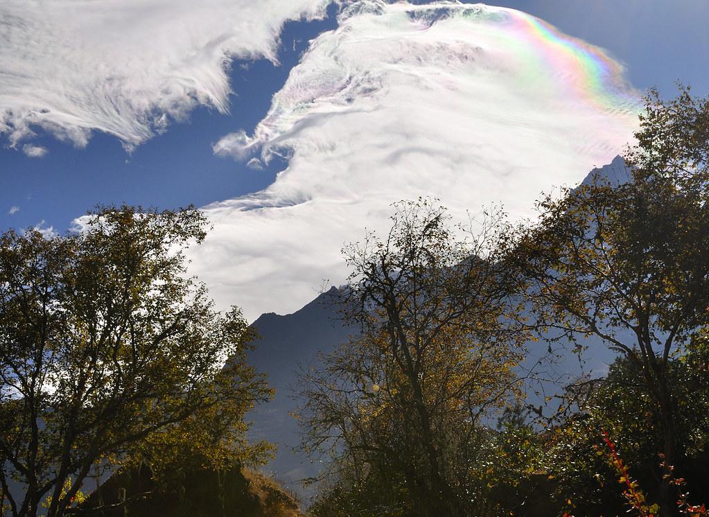 Rainbow cloud over Thamserku