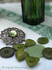 Green Buttons (Of Spring and Summer) Tags: stilllife inspiration green home vintage photography design bottle bottles linen buttons interior creative retro fabric vase antiques cottagestyle buckles vases fabrics tablecloths shabbychic ofspringandsummer