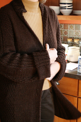 Mom's brown sweater coat