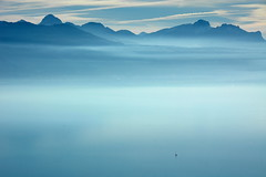 All alone (oobwoodman) Tags: lake sailboat schweiz switzerland see spring sailing suisse lac lausanne lman printemps segeln segelboot frhling lakegeneva genfersee myswitzerland grandvaux