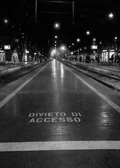 do not enter (luca19632 - Luca Cortese) Tags: bw bn stazione notte segnale città prospettiva limite ferrovia divieto bordo