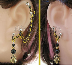 Gold and Black Ladybug Cartilage Chain Earrings Pair