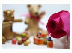 ** Happy elements ** (©Marie Eve K.A.❦ (away..)) Tags: flower colour macro rose cake canon toy happy eos wooden kiss doll dof sweet bokeh seasonal happiness 100mm macaroon german kawaii greeting easteregg happyeaster canoneoskissx2 efs100mmf28macrousm