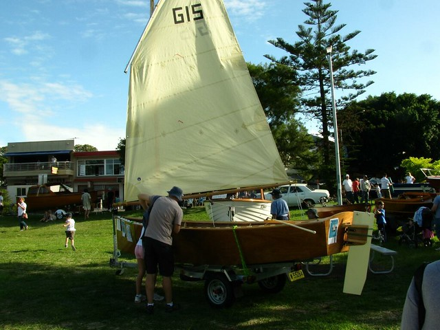 Goat Island Skiff homebuilt sailboat on Lake Macquarie.