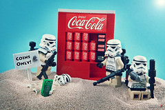Do you have coins? (storm TK431) Tags: starwars desert lego cola coke stormtrooper vending jawa tatooine pauldron brickforge snadtrooper