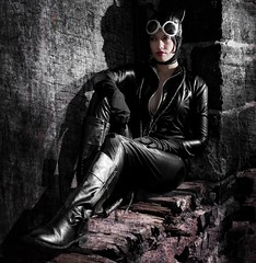 Catwoman Cosplay (VictoriaCosplay) Tags: girl leather cosplay trainstation batman latex dccomics catwoman rises justiceleague annehathaway selinakyle victoriacosplay wwwcosplaygirlwebscom arkhamcity