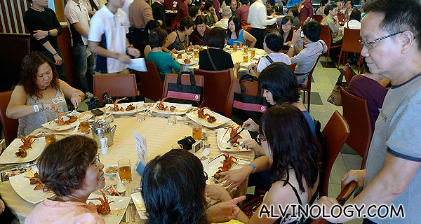 Ah Lun mingling with the participants as the food was served