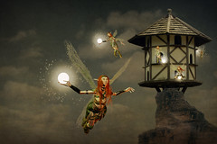 Firefly fairies (shutterbugdeb) Tags: house mountain art digital flying glow dove birdhouse manipulation fairy fantasy glowing cote fairies firefly