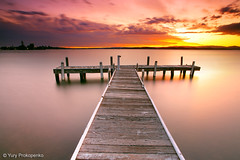 Sunset @ Lake Macquarie (-yury-) Tags: sunset sky lake beach nature water clouds canon landscape pier belmont jetty australia nsw mk2 5d centralcoast lakemacquarie squidsink thepowerofnow