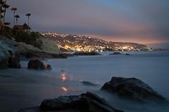 Laguna Beach at Night (CrapulePHL) Tags: california light sunset sea sky reflection beach bulb night clouds canon sand long exposure slow cloudy palm iso f16 shutter 100 usm efs f28 starburst lagunabeach polution 33mm 1755mm heislerpark 241s