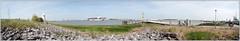 Panorama Doel (RHPhotographics) Tags: summer panorama plant haven landscape cyclist belgium belgie harbour nuclear schelde powerplant containership shipment doel kerncentrale recreatie
