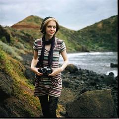Cape Schanck (Brendan_Timmons) Tags: camera portrait cold cute 120 6x6 tlr film water girl rocks canonae1 yashicamat yashinon 80mmf35 kodakektacolorpro160