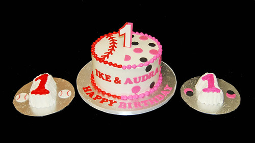 Double 1st Birthday Cake - baseball for the boy, hot pink and black polka dots for the girl