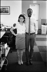 Miranda and Damien (b.keelerfoster) Tags: california portrait blackandwhite bw art film 35mm photography la photo blackwhite office losangeles boots posed tie dressedup nikonfm10 plus hp5 ilford ilfordhp5plus 50mmlens nikonserieselens