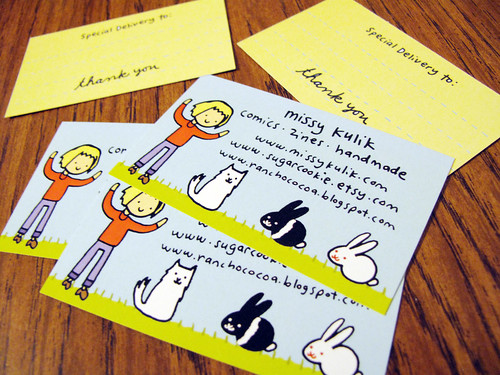 My new business cards to write on and place in my Etsy orders.