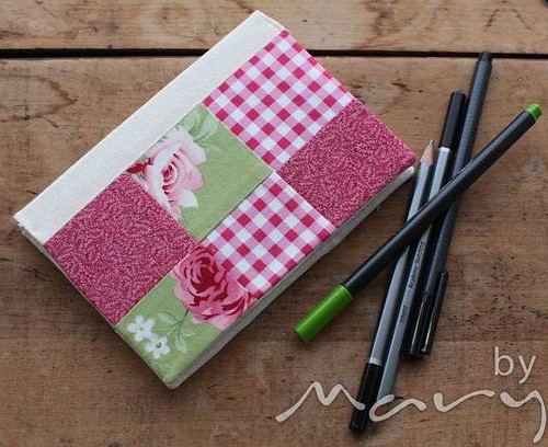 Notebook with patchwork slip cover