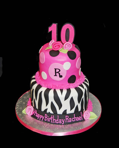 Hot pink and black zebra print and polka dot 10th birthday cake