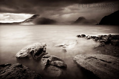 Elgol, Skye (Pete Barnes Photography) Tags: sunset sea mountain seascape storm skye beach water rain scotland waves moody isleofskye ridge westernisles cullins cullin elgol blackcullin