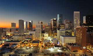 Houston Skyline Golden Glow