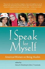 The cover of I Speak For Myself: American Women on Being Muslim. The cover is orange and blue, with five of the contributors photos bannered across the top.