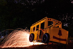 #2 (J. Cucchi) Tags: longexposure fire spinning schoolbus streaks sparks spinningfire spittingfire
