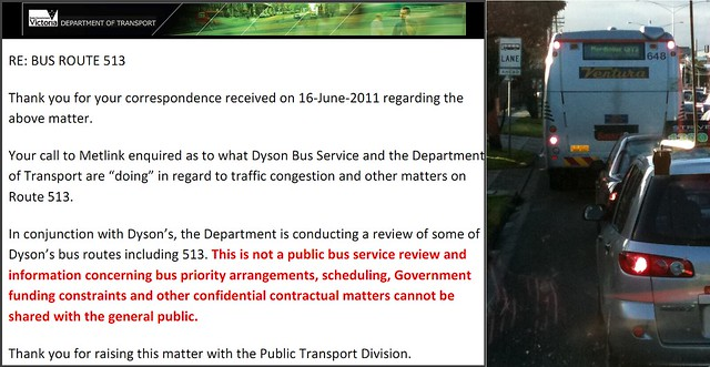 Correspondence from the Department of Transport