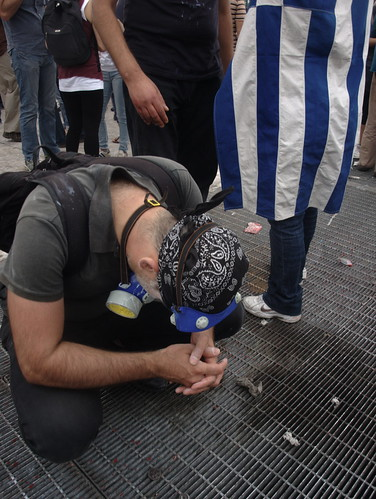 Greek protester recovering from effects of police tear gas attack.Syntagma square, Athens by Teacher Dude's BBQ