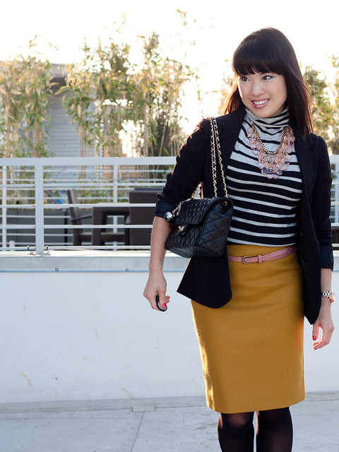 urban outfitters boyfriend blazer gap striped shirt j. crew double serge pencil skirt bronzed ochre agaci pink skinny belt chanel m/l classic flap