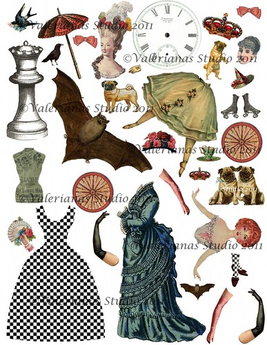 Digital Collage Sheet Paper Dolls