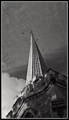 Crows church (Artificially Flavoured Jesus) Tags: church steeple crows clouds grey greyscale black white architecture brick stone portrait christian christianity spire panasonic lumix g1