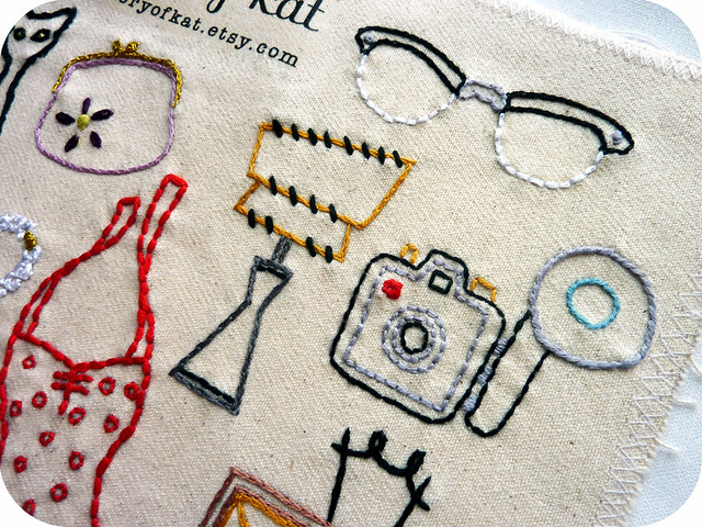 Vintage Shop Embroidery Pattern, detail 2