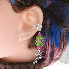 Pink and Green Frog Cartilage Ear Cuff - Longing for the Pond