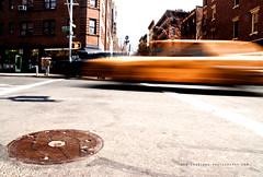 Back to the Future (crabland) Tags: auto street newyorkcity light shadow newyork building brick car yellow america licht movement unitedstates strasse cab taxi fast haus gelb stadt bewegung asphalt amerika schatten greenwichvillage gebaeude rasen gulli backstein schnell vereinigtestaaten