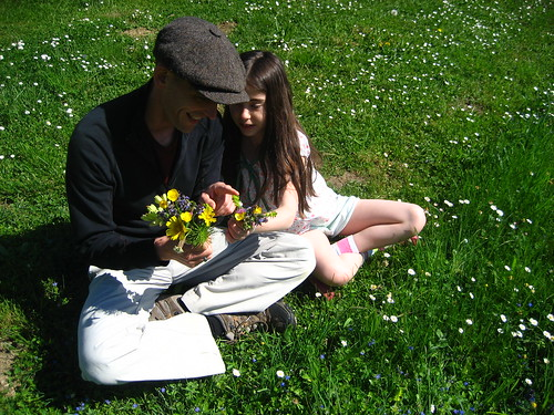 Graham and Livvy picking flowers