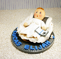 Christening Cake Topper (missnatch) Tags: blue white cake silver clay christening topper polymer