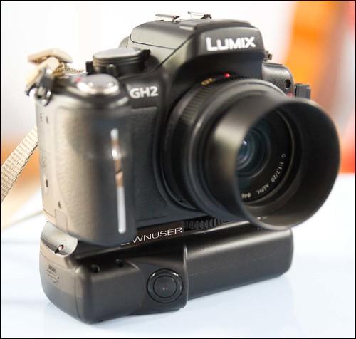 Panasonic GH2 20mm f/1.7 lens and Ownuser battery grip.