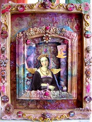 Wonderful wimple (couleurdarcenciel) Tags: bird rose butterfly lace icon queen virgin fabric jewlery engravings tissuepaper beewax acrylicpaints collagepapers angelinafibers paperornaments wordbuttons